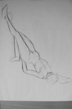 Esquisse de nu artistique Marion les pieds en haut