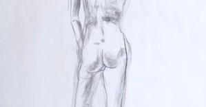 Caroline dessin nu de dos au fusain