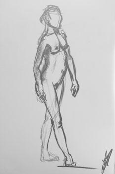 Croquis en 15mn de modèle-vivant femme debout