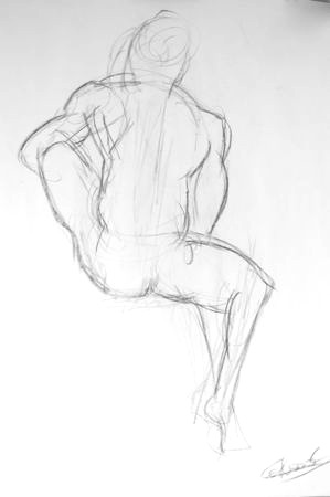 Esquisse de nu artistique d'homme Fabrice assis