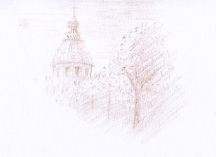 dessin composition vue du monument de paris le pantheon