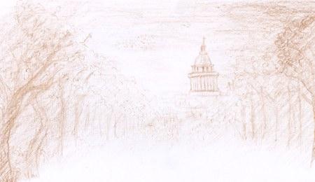 Composition crayonné vue du pantheon de place italie paris