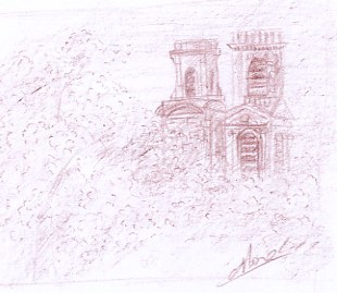 1 croquis de paris de monument l'église St Sulpice