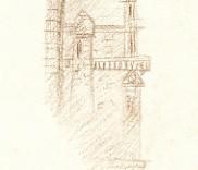 croquis dessin archi de tourelle du chateau de Chantilly