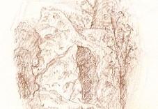 composition dessin au crayon du rocher - Versailles domaine de Marie-Antoinette