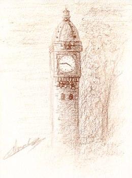 Croquis au crayon d'architecture de la capitale Paris la gare de Lyon