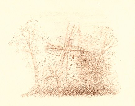 Composition dessin du moulin de Longchamp