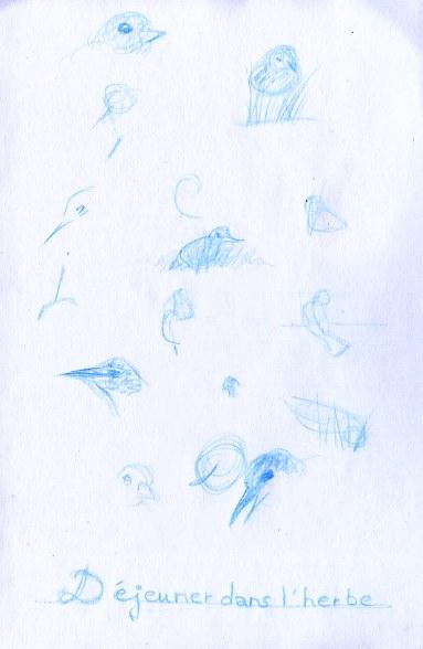 Croquis animaliers d'oiseau les moineaux