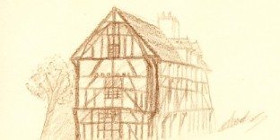 Dessin au crayon de la maison du dauphin à Troyes