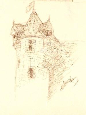 La tour blanche d'Orléans dessinée au crayon