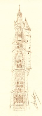 Dessin de la tourelle du palais épiscopal d'Orléans