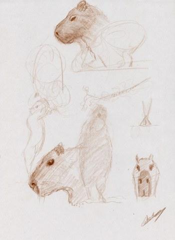 Animal cabiai profil et animaux debout dessinés au crayon de couleur