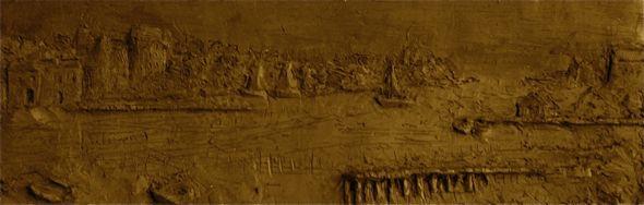 Sculpture en argile paysage bas-relief d'après une esquisse dessinée par Rembrandt