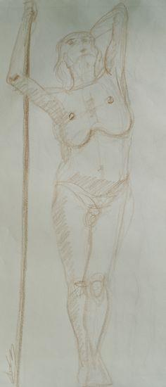 1 croquis rapide dessin de nu artistique homme bâton
