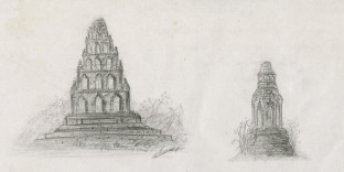 Lamphun 2 dessins temples bouddhistes thailande