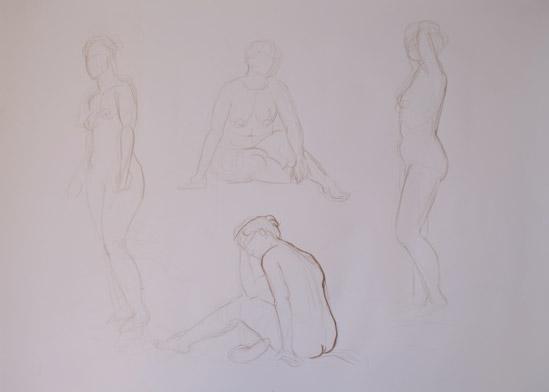 4 esquisse nues dessins rapides