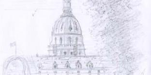 Croquis de Paris dessin invalides dessiné au crayon