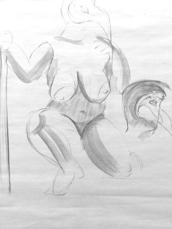 Esquisse dessin femme-ronde fusain