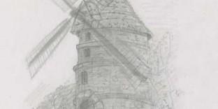Ancien moulin dessin Ivry-sur-Seine Paris