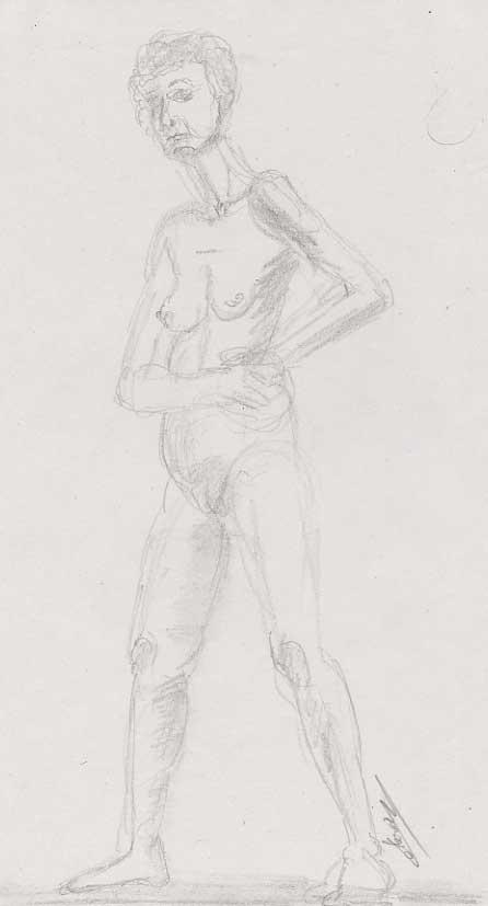 Femme longue dessinée debout