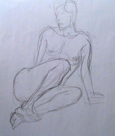 1 dessin artistique de femme assise