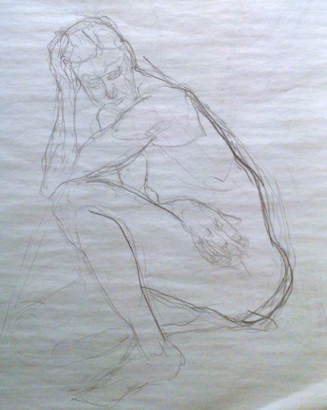 1 dessin femme assise nue