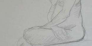 Femme noire assise dessin
