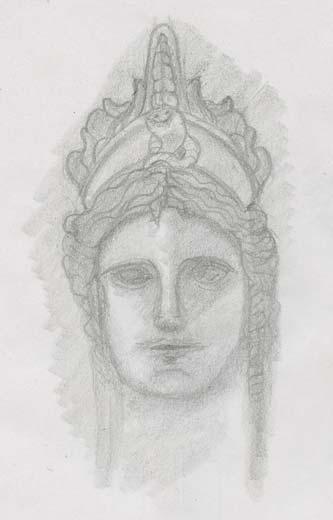 visage statue romaine Demeter