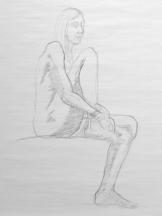 fusain femme assise dessinée