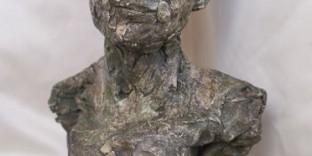 Terre cuite patine statuette visage d'homme