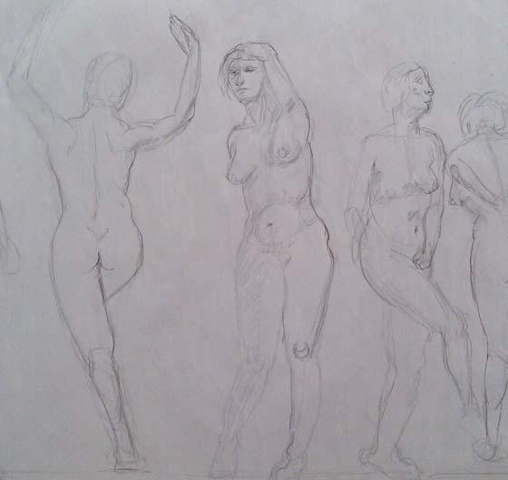 Danse femmes dessin nu artistique