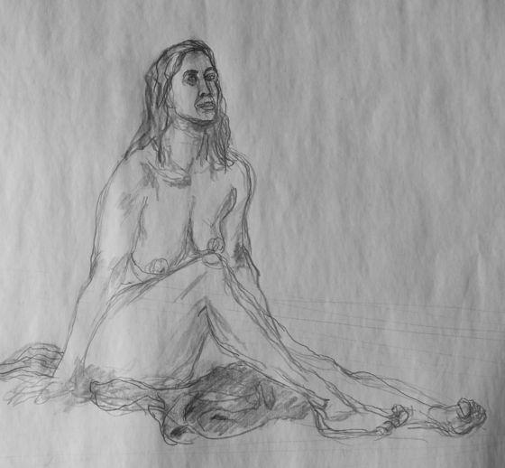 Dessin femme assise nue