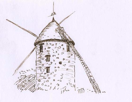 Moulin dessin encre plume