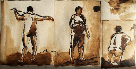 3 hommes lavis sur papier