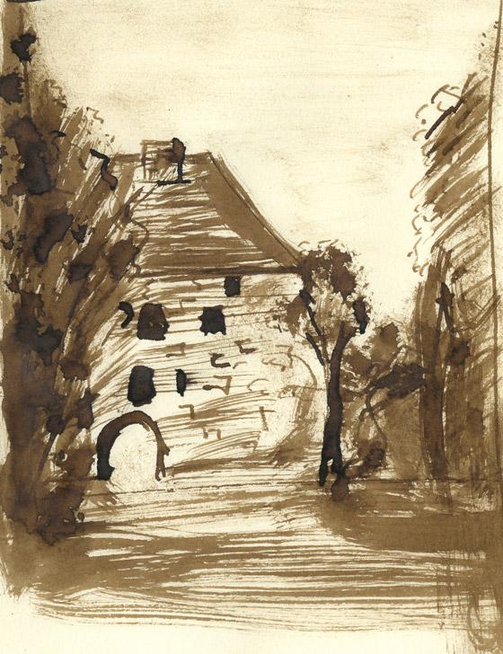 Dessin au pinceau encre château Caen