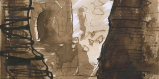Herculanum dessin pinceau encre