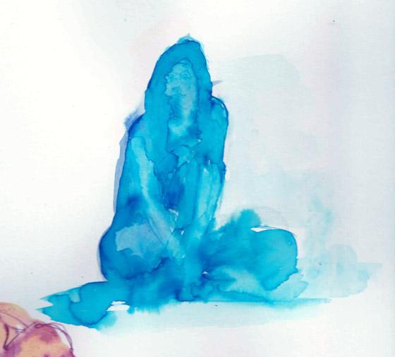 Pinceau aquarelle femme assise