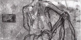 Monotype dame au drapé